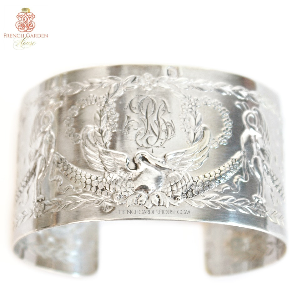 KDL Antique French Sterling Silver Swan Monogrammed Cuff Bracelet