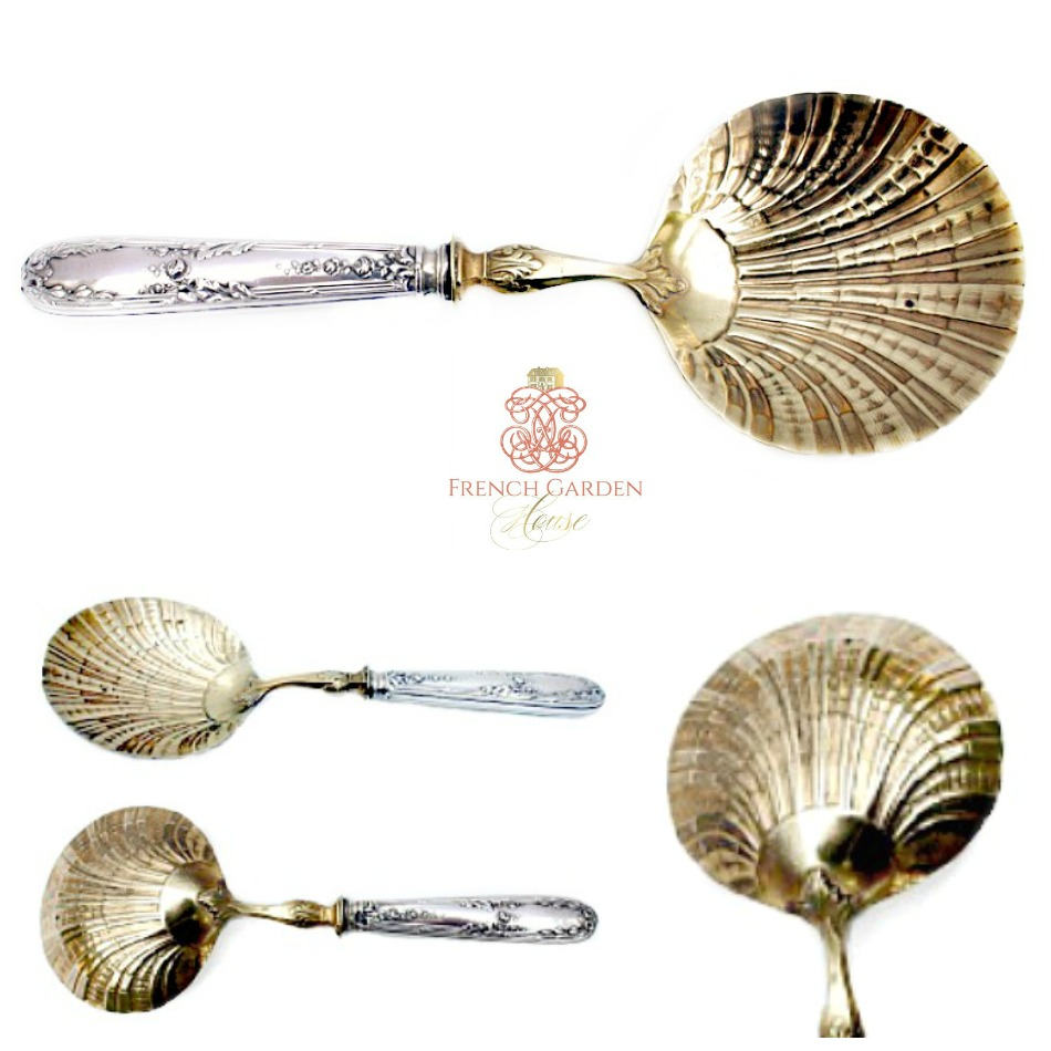 19th Century French Sterling Silver Vermeil Oyster Serving Scoop