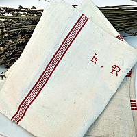 Antique French Heirloom Linen Monogrammed Towel L R