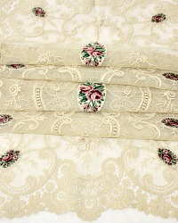 Antique French Net Lace Runner with Rose Embroidery