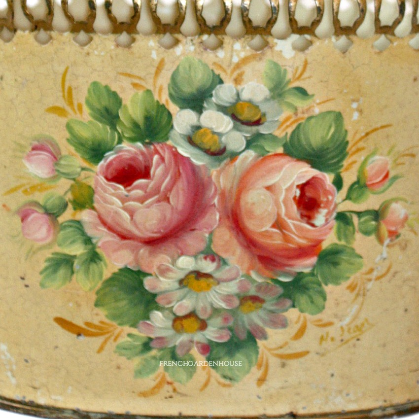 French Hand Painted Tole Jardiniere