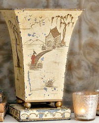 Antique Hand Painted Toleware Chinoiserie Cachepot