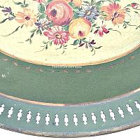 French Country Green Tole Peinte Floral Tray