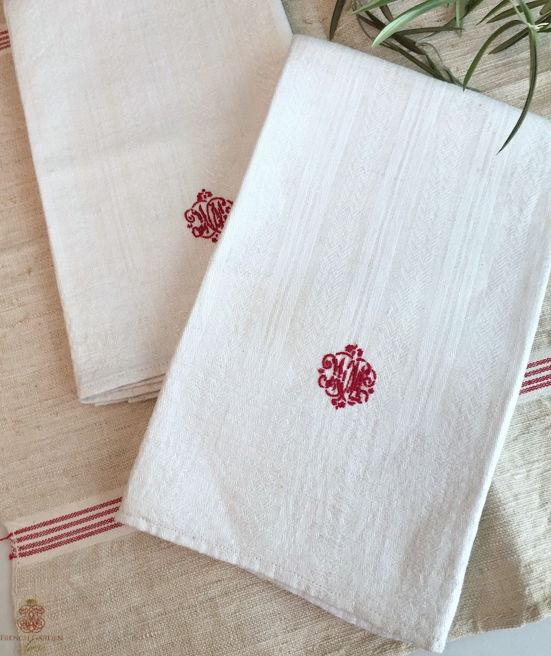 Antique French Light Cream Linen Towel Red WM Monogram