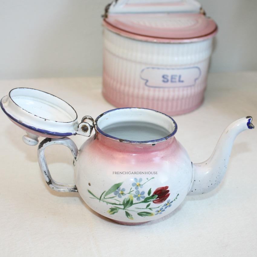 Antique French Enamelware PINK Miniature Tea Pot Rose