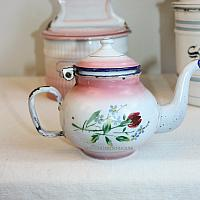 Antique French Enamelware PINK Miniature Tea Pot Rose