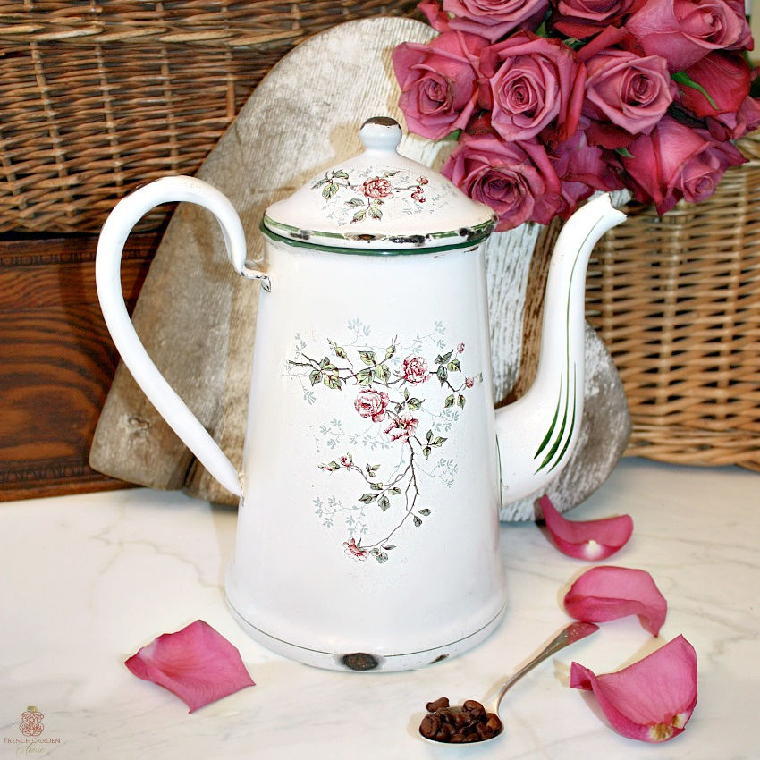 Antique French Large Pink Roses Enameled Coffeepot