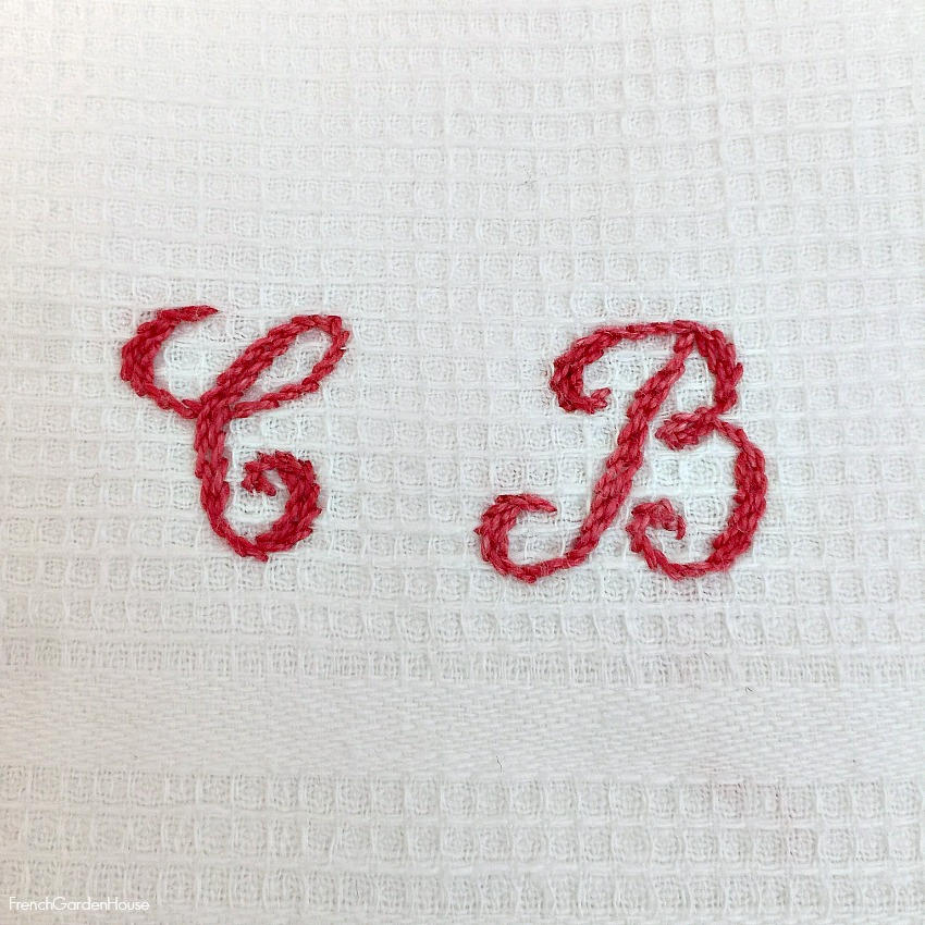 Antique French Fringed Hand Towel Red Monogram C B