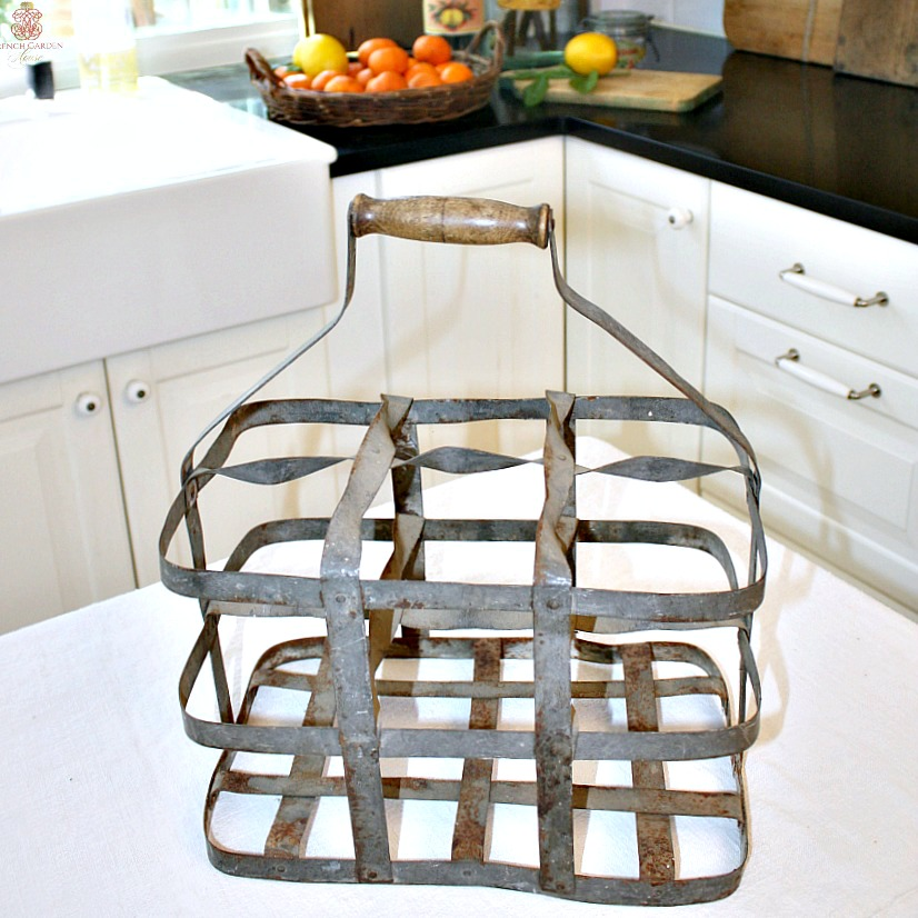 Vintage French Country Zinc Wine Bottle Caddy 6 Compartment