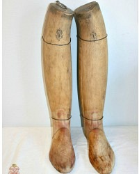 Antique French Riding Boot Monogrammed Wood Form Inserts