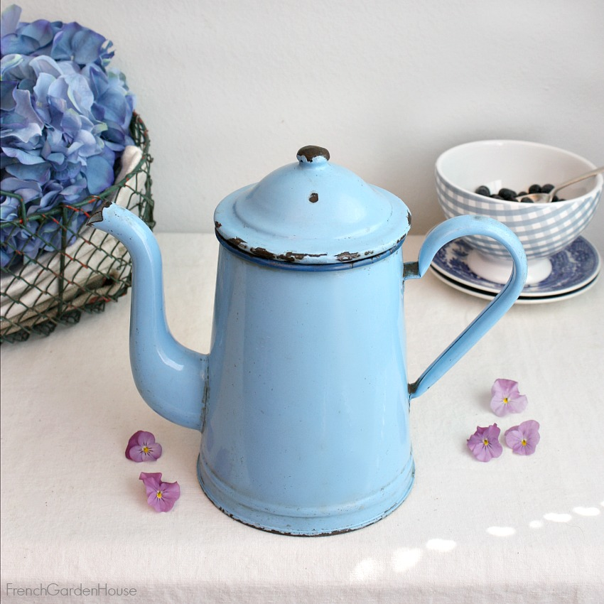 Vintage French Enameled Blue Coffee Pot with Blue Trim