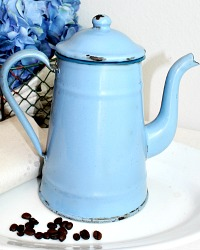 Vintage French Enameled Blue Coffee Pot with Teal Trim