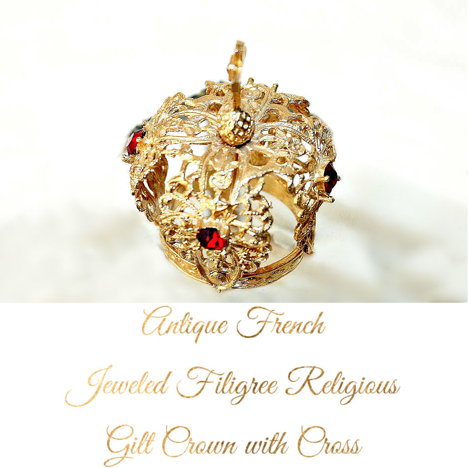 Antique French Jeweled Filigree Religious Gilt Crown with Cross