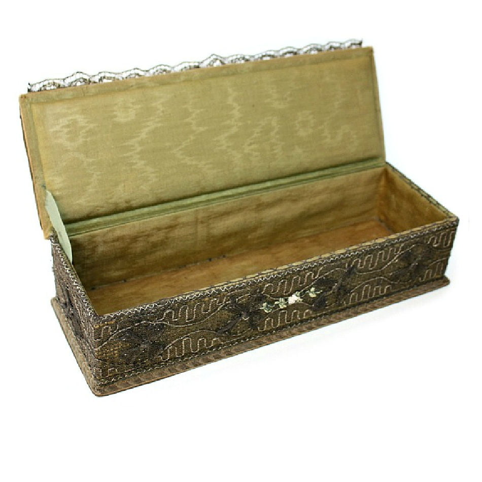 Antique French Metallic Gold Lace Gloves Box with Ribbon Rose Decoration