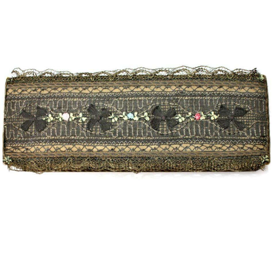 Antique French Metallic Gold Lace Handkerchief Box with Ribbon Rose Decoration