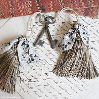 Parisian Atelier Vintage Black Cream Silver Tassel & Antique Key