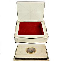 French Celluloid Jewelry Box Hand Painted Portrait Miniature