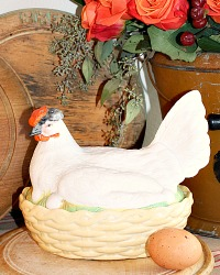 19th Century French Bisque Hen on Nest