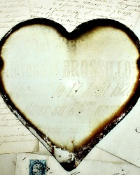 French White Enamel Shabby Mourning Heart Plaque Brossillon