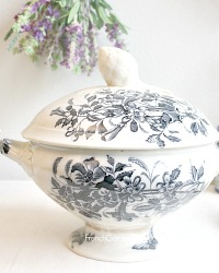 Antique French Soup Tureen Blue Transferware
