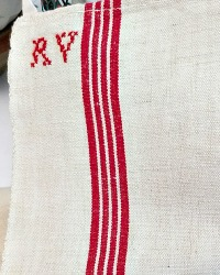 Antique French Heirloom Linen Monogrammed Towel R V