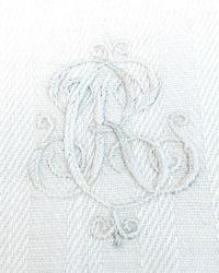 Antique Hand Woven French Cream Towel Monogram C R
