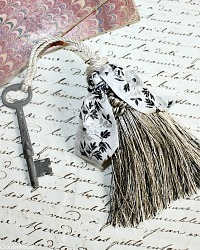 Parisian Atelier Vintage Black Cream Silver Tassel & Antique Key