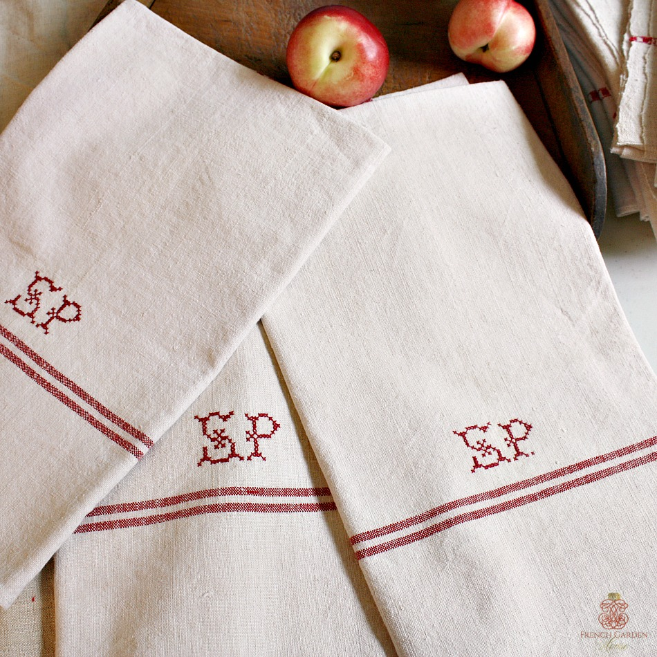 19th Century French Linen Towel Monogram S P