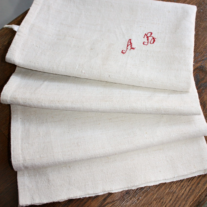 19th Century French Hand Woven Natural Linen Towel Monogram A B