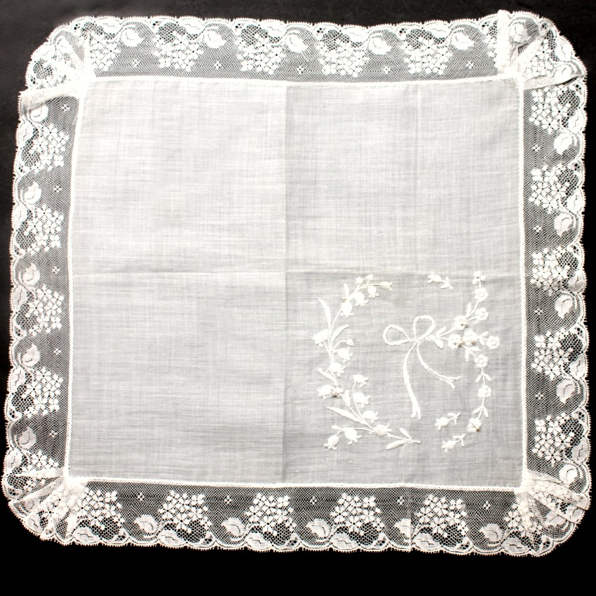 Antique Hand Embroidered French Lace Bridal Handkerchief Lily of the Valley