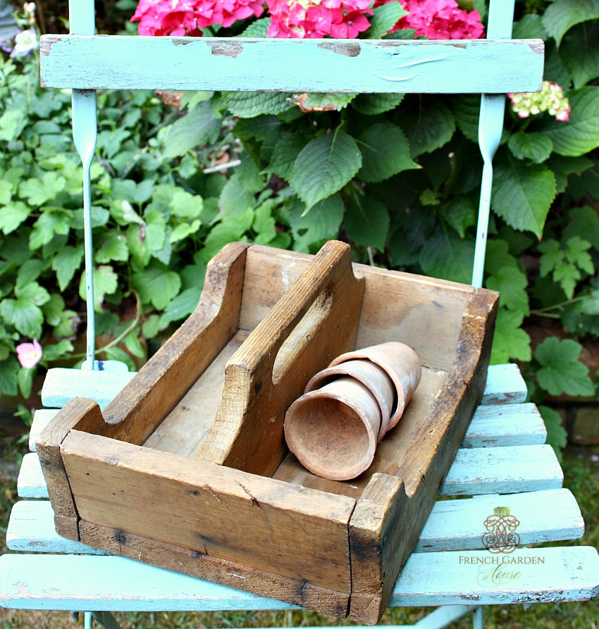 Antique Rustic Country Wood Garden Seed Carrier
