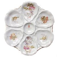 Antique Porcelain Flower Garden Oyster Plate