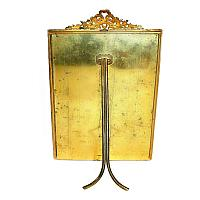 19th Century French Dore Gilt Bronze Empire Floral & Bow Frame Large