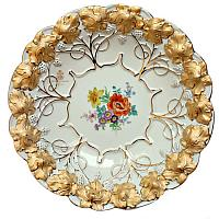 Meissen Hand Painted Floral Gilt Serving Bowl