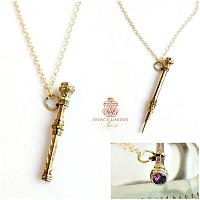 Antique Heirloom Gold Chatelaine Pencil Necklace Amethyst