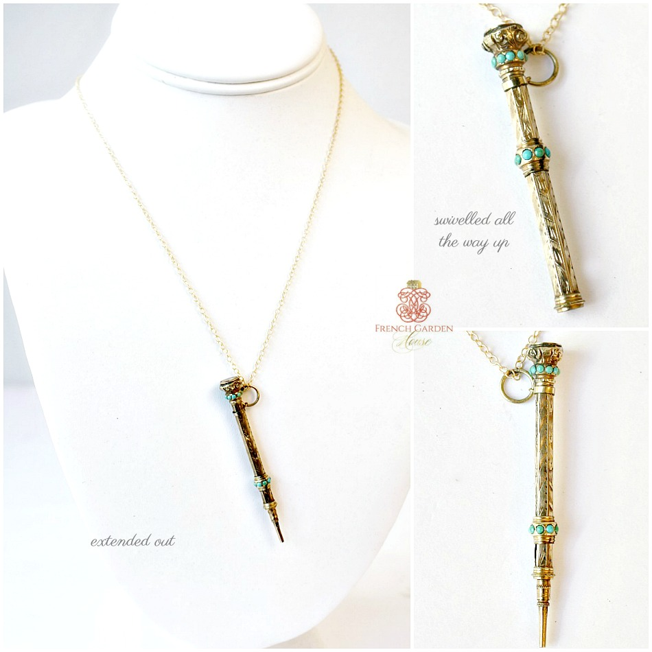 Antique Gold and Turquoise Chatelaine Pencil Necklace Delicate