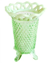 Imperial Glass Green Lace Opalescent Spooner Vase
