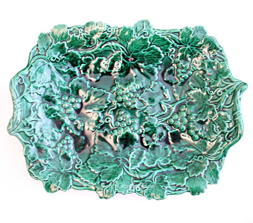 19th Century Green Majolica Leaf Serving Platter