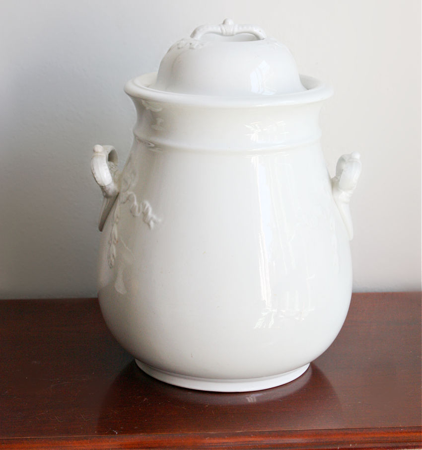 Antique English Ironstone Huge Jar with Crown Handles