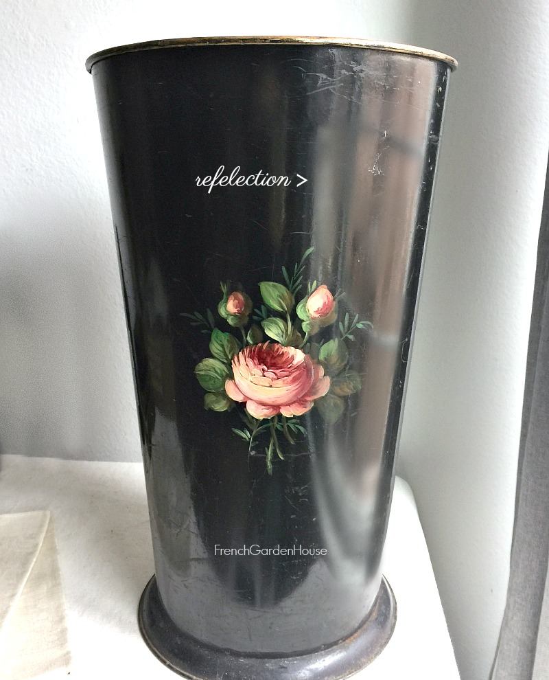 Hand Painted French Tole Rose Floral Umbrella Stand