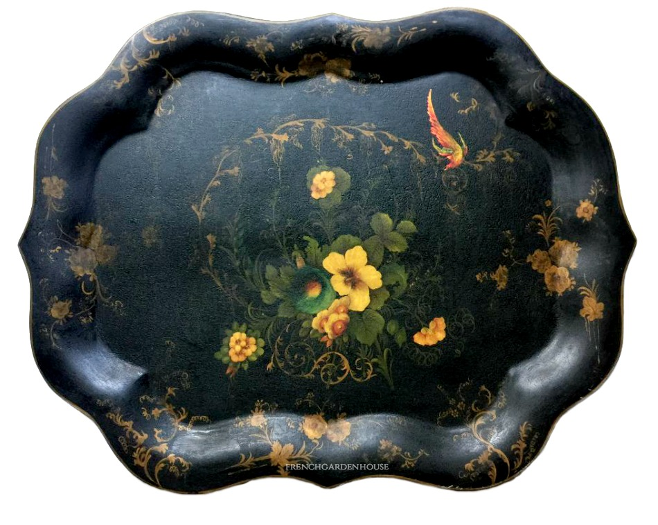 Antique 19th Century Hand Painted Gilt Toleware Tray with Bird and Flowers