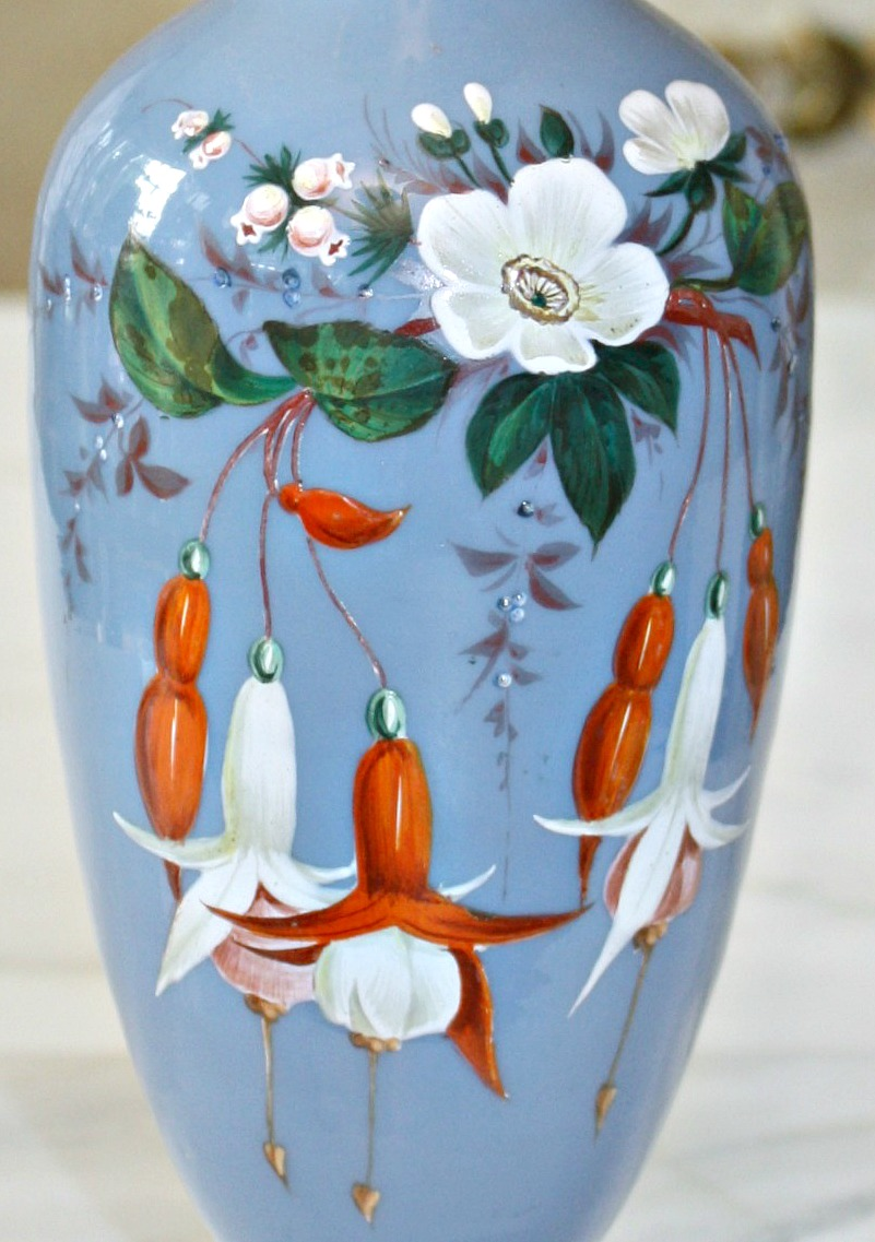 Antique Opaline Glass Enameled Vase Fuchsia