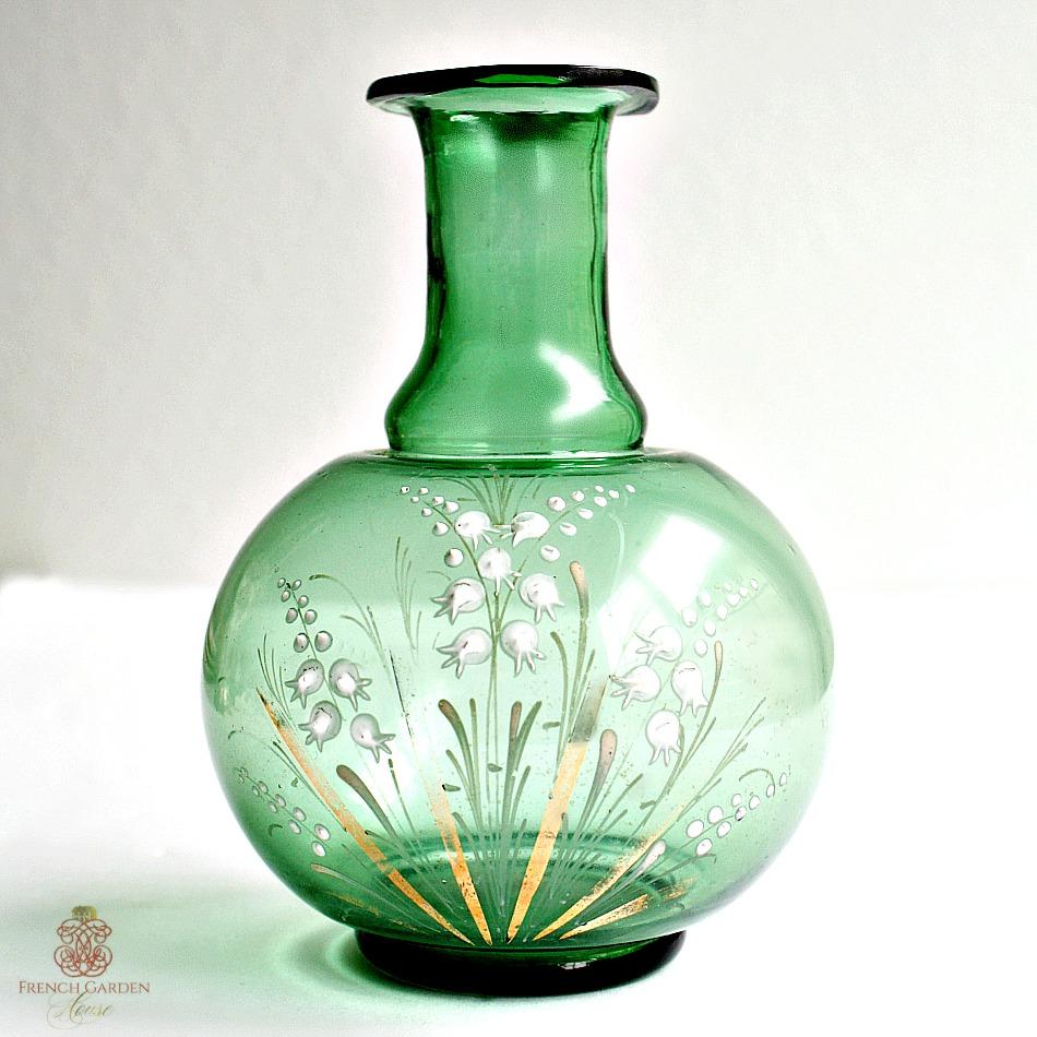 Antique Hand Enameled Green Vase with Muguet de Bois Flowers