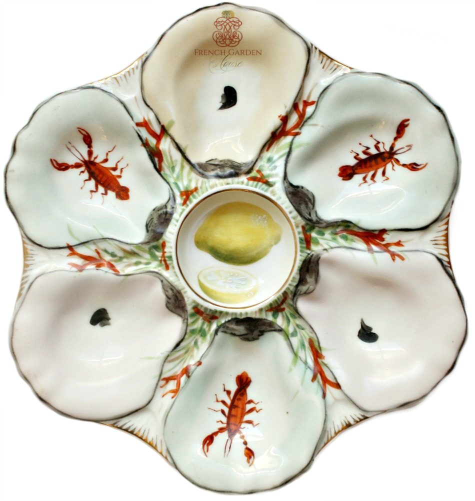 Antique French Hand Painted Enameled Oyster Plate with Lobsters and Lemon