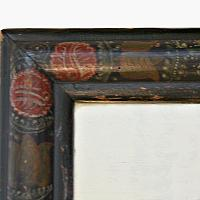 Early Antique Hand Painted Wood Framed Mirror II