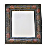 Early Antique Hand Painted Wood Courting Mirror II