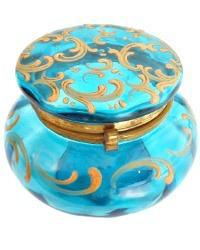 Antique Bright Aqua Blue Enameled Glass Powder Jar