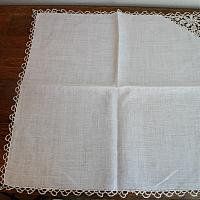 Antique Cream Linen Napkins Italian Needle Lace Set of 6