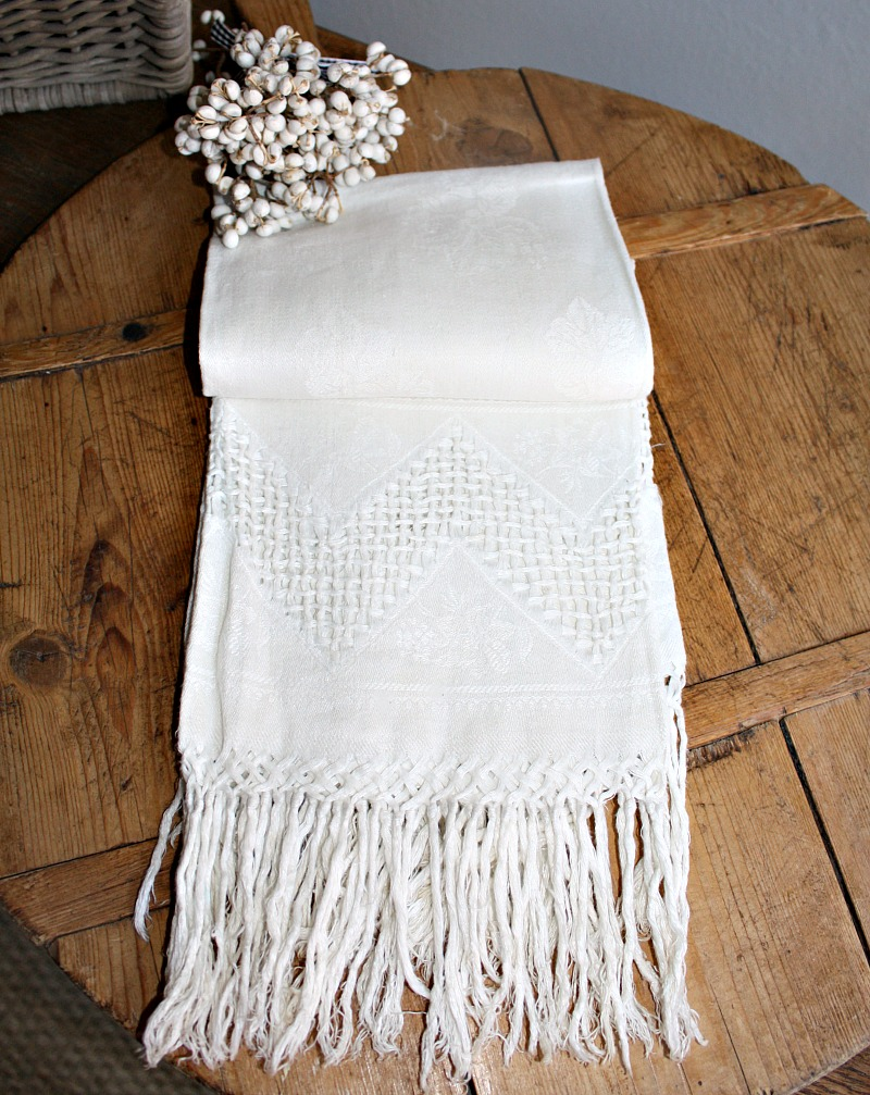 Antique French Floral Cream Damask Show Towel