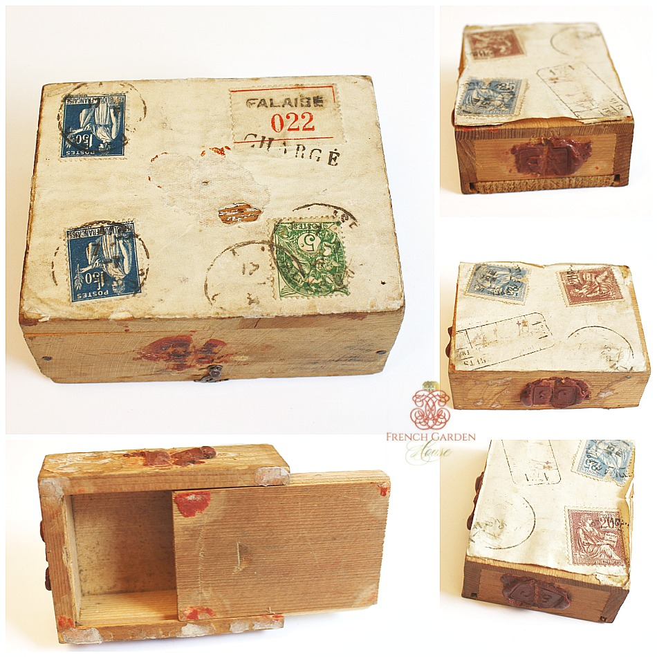 Antique French Wood Mailing Boxes Set of 2